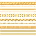 Golden Jewelry seamless chains. Realistic Jewelry pattern illustration.
