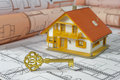 Golden key and house Royalty Free Stock Photo