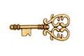 Golden key isolated on white Royalty Free Stock Photo