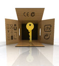 Golden key product delivered in box concept illustration Stock Images