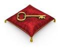 Golden key on royal red velvet pillow isolated on white backgrou background Royalty Free Stock Images