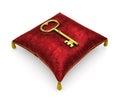 Golden key on royal red velvet pillow isolated on white backgrou background Royalty Free Stock Photography