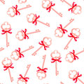Golden keys with red bows seamless vector pattern Royalty Free Stock Photo