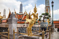 Golden kinnara statue at grand palace in bangkok of wat phra kaew temple Stock Photos
