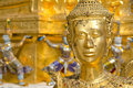 A Golden Kinnari statue at Wat Phra Kaew Royalty Free Stock Image
