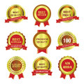 Golden Label and ribbon Royalty Free Stock Photo