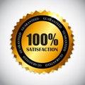 Golden Label 100 % Satisfaction Vector Royalty Free Stock Photo