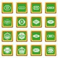 Golden labels icons set green
