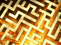 Golden labyrinth with flame Royalty Free Stock Photo