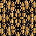 Golden lace design on black background