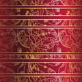 Golden lace ornament on deep red background. Seamless pattern Royalty Free Stock Photo