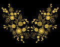 Golden lace pattern of flowers on a black background. Imitation embroidery. Chamomile, forget-me-not, gerbera, paisley rustic vint