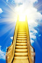 Golden ladder to blue sky sunset Royalty Free Stock Image