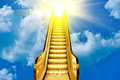 Golden ladder to blue sky sunset Stock Photo