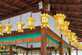 Golden lanterns hanging at kawai jinja shrine in kyoto japan beautiful near the south gate of tadasu no mori forest Stock Image