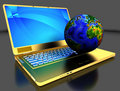 Golden laptop with globe Stock Image