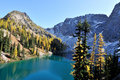 Golden Larch trees and Blue Lake Trail Stock Photos