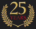 Golden laurel wreath 25 years Royalty Free Stock Photo