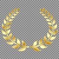 Golden Laurel wreath, isolated on gray background. Vector element for your design.