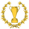 Golden laurel wreath and winner cup Royalty Free Stock Images