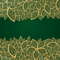 Golden Leaf Lace On Green Back...