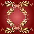 Golden leaves emblem Stock Images