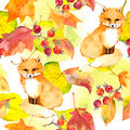 Golden leaves, fox animal. Seamless autumn pattern. Watercolor Royalty Free Stock Photo
