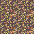 Golden leaves. Watercolor autumn seamless pattern in cute style Royalty Free Stock Photo