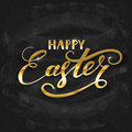 Golden lettering Happy Easter with decorative pattern of eggs