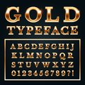 Golden letters with gold shine metal gradients. Shiny alphabet and numbers serif font for luxury lettering vector