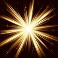Golden light, star burst, stylized fireworks Royalty Free Stock Photo