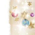 Golden Lights and Stars Christmas Background. Stock Image