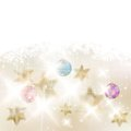 Golden Lights and Stars Christmas Background. Stock Images