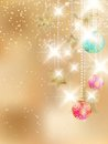 Golden Lights and Stars Christmas Background. Royalty Free Stock Photos