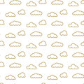 Golden line clouds vector seamless pattern. Dense sky print for textile. Royalty Free Stock Photo