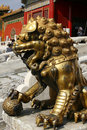 Golden Lion at the Forbidden City Stock Photography