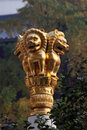 Golden lion statue at buddhist temple in shanghai china Stock Photography