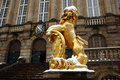 Golden lion at the townhall of Kassel Stock Photos