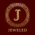 Golden logo template for jeweled boutique Royalty Free Stock Photo