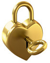 Golden love padlock Stock Photography