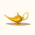 Golden magic lamp. Fable. Cartoon vector illustration