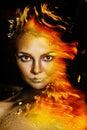 Golden make up woman Στοκ εικόνες με δικαίωμα ελεύθερης χρήσης