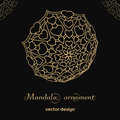 Golden mandala ornament template with hearts on black