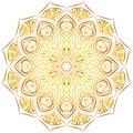 Golden mandala pattern on white background.