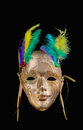 Golden mardi gras mask on black background Stock Photos