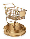 Golden market cart best sellers concept d isolated on white background Royalty Free Stock Images