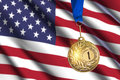 Golden medal against usa flag background closeup view Royalty Free Stock Images