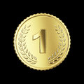 Golden medal on black isolated with clipping path Royalty Free Stock Photos