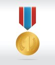 Golden medal with thee color ribbon Stock Photos