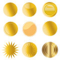 Golden medals different set of gold Royalty Free Stock Photography